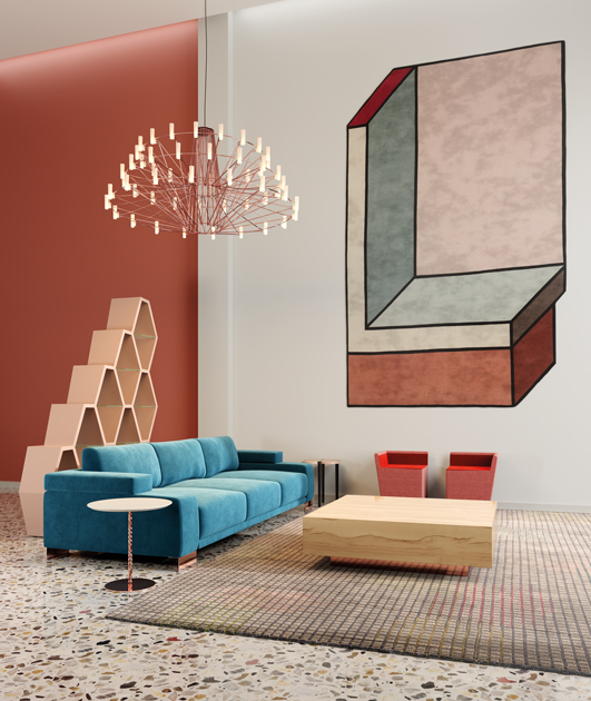 Image description: living room in the colours of autumn, decoration in coppery tones and a blue sofa.