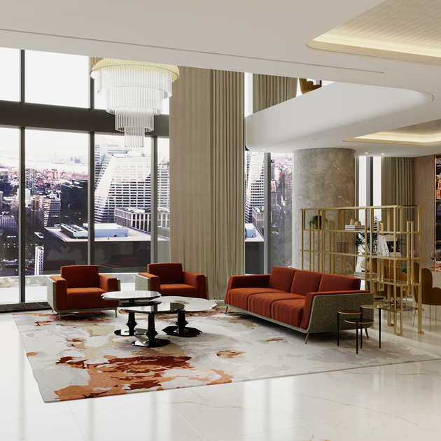 Image description: living room in the colours of autumn, orange tones with stainless steel bookcase.