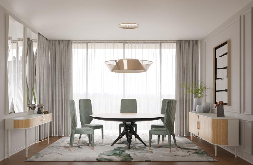 Descrição da imagem: Sala de jantar de cores neutras – verde água, branco e madeiras claras.