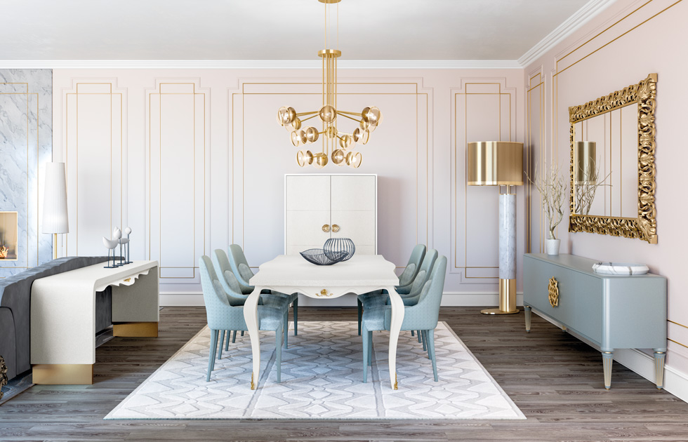 Image description: Classically inspired dining room with modern lamp in neutral tones.