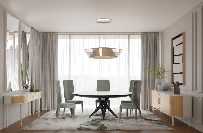 Image description: Dining room in neutral colours - aqua green, white and light woods.