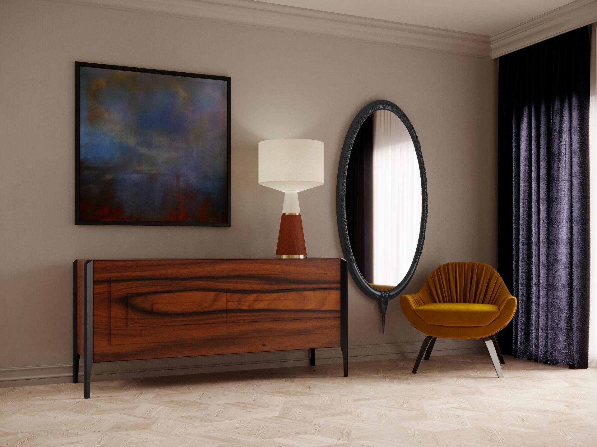 Descrição da Imagem: Espelho decorativo oval vertical com moldura trabalhada em quarto pequeno.