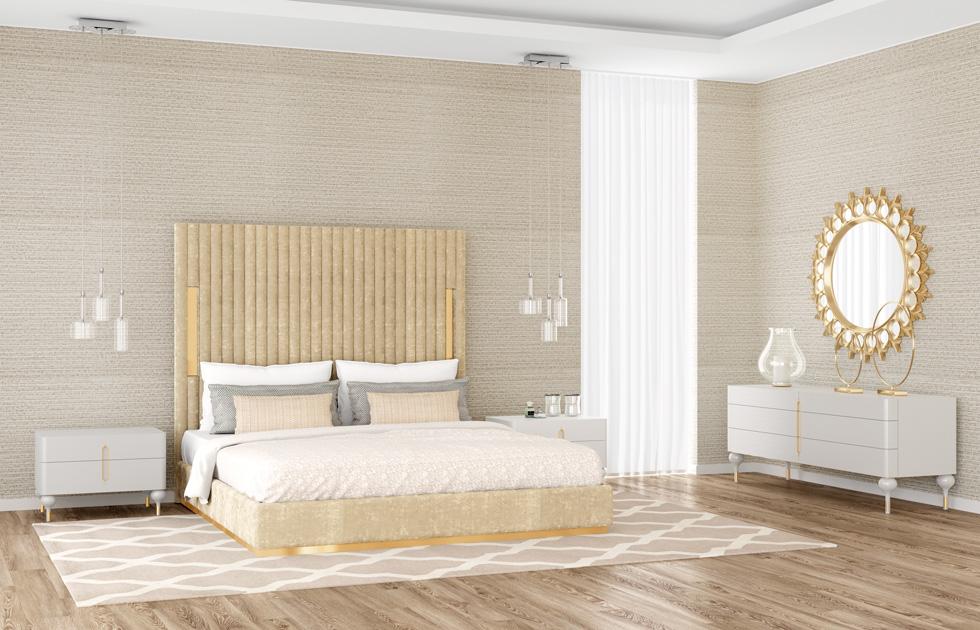 Descrição de Imagem: Espelho decorativo redondo trabalhado num quarto, por cima da cómoda.
