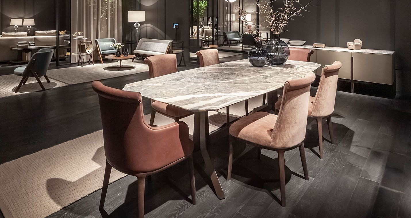 Image Description: chair for dining room by Poltrona Frau, model Diva, with dining table.