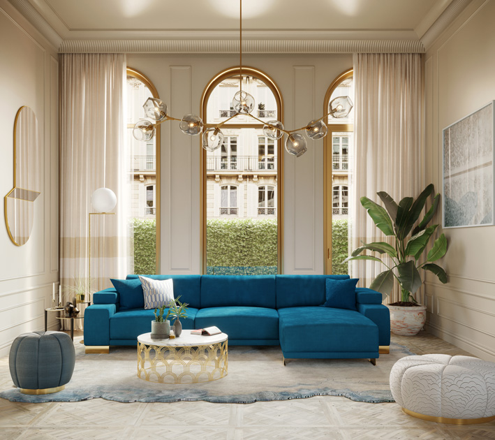 Image description: Mid-century coffee table Cosmos with a modern blue sofa and a side table with three tops.