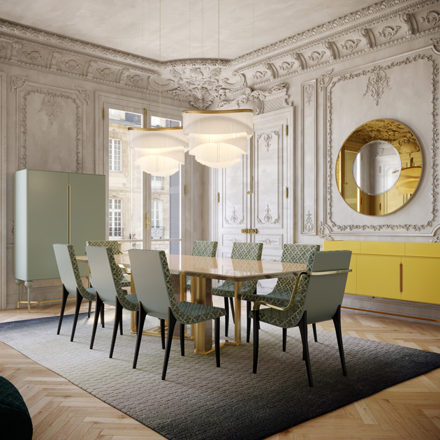 Image Description: dining room with contemporary table, yellow sideboard and soft green bar cabinet.