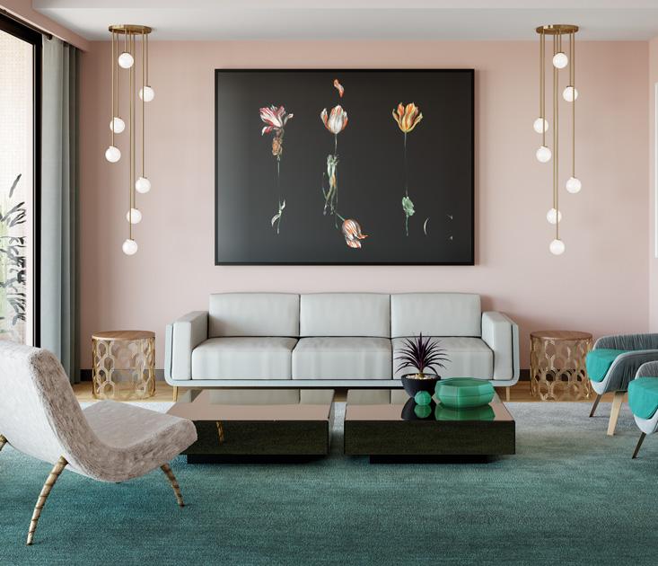 Descrição de imagem: Mesa de centro espelhada Mille em ambiente de sala de estar com sofá e mesas de apoio.