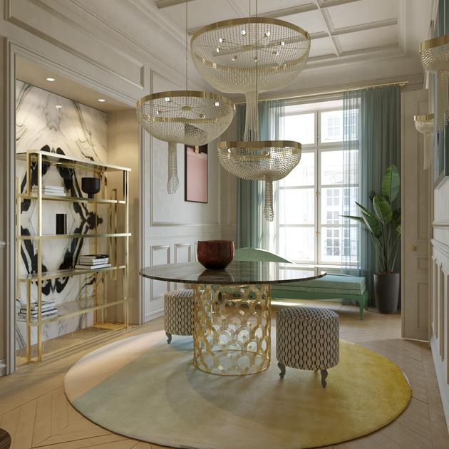 Descrição da Imagem: Hall com mesa de jantar de mármore, candeeiro de pérolas e estante em inox.