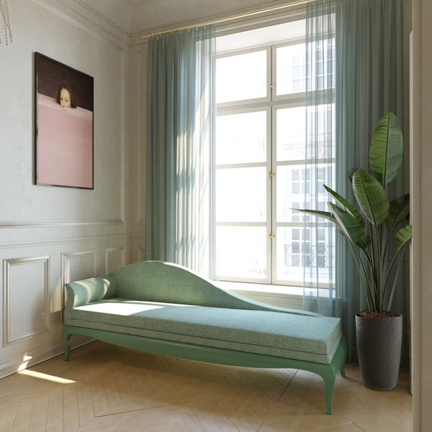 Image Description: soft green Chaise Longue in the entry hall below the windows.
