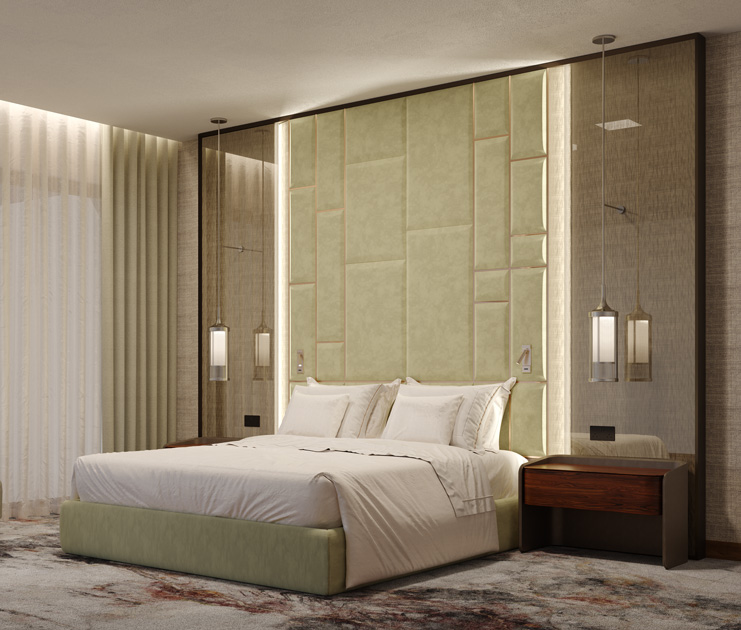 Image description: hotel bedroom with bed upholstered in light green, beside tables and bedding