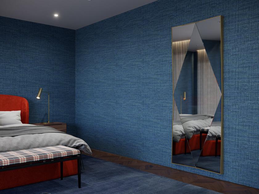 Descrição da imagem: ideias de decoração: espelho vertical com jogo de reflexos num quarto