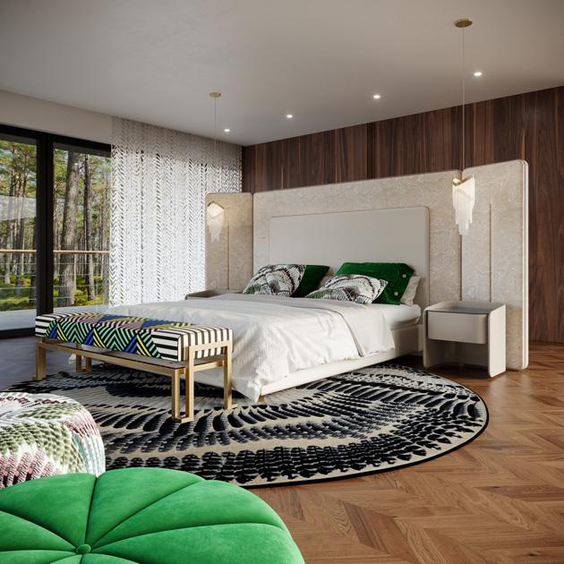 Descrição da imagem: ideias de decoração: usar padrões, formas, texturas com banqueta geométrica