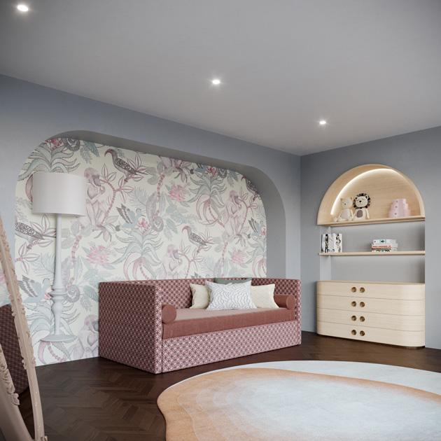 Descrição da imagem: ideias de decoração: cama num quarto infantil em tons de cor-de-rosa