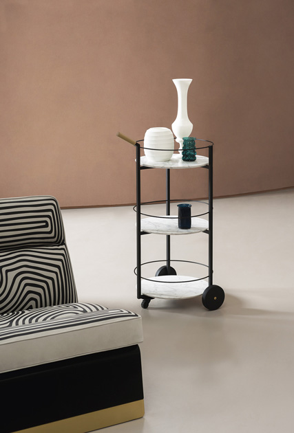 Image description: vintage bar cart from Baxter in marble and brass.