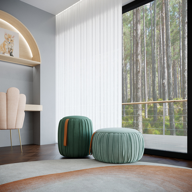 Image description: decorating tips: poufs with storage in a children's bedroom