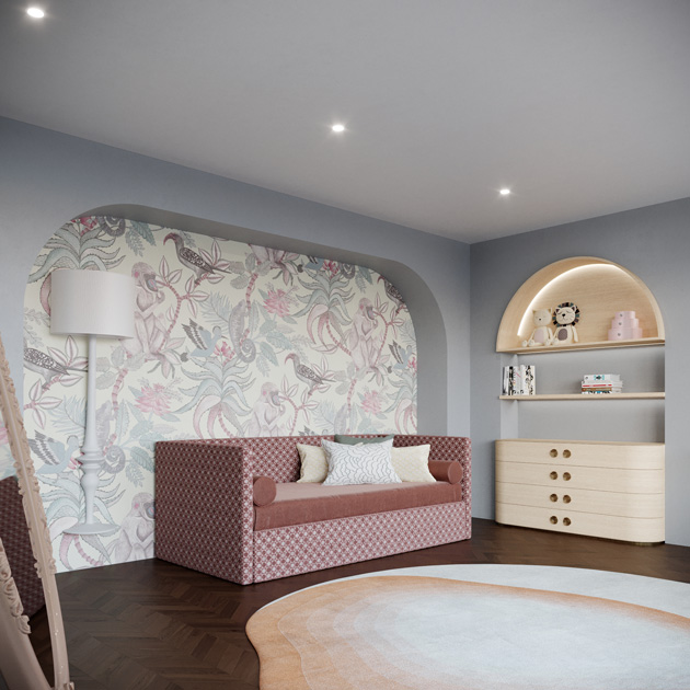 Image description: decorating tips: bed in a children's bedroom in pink shades