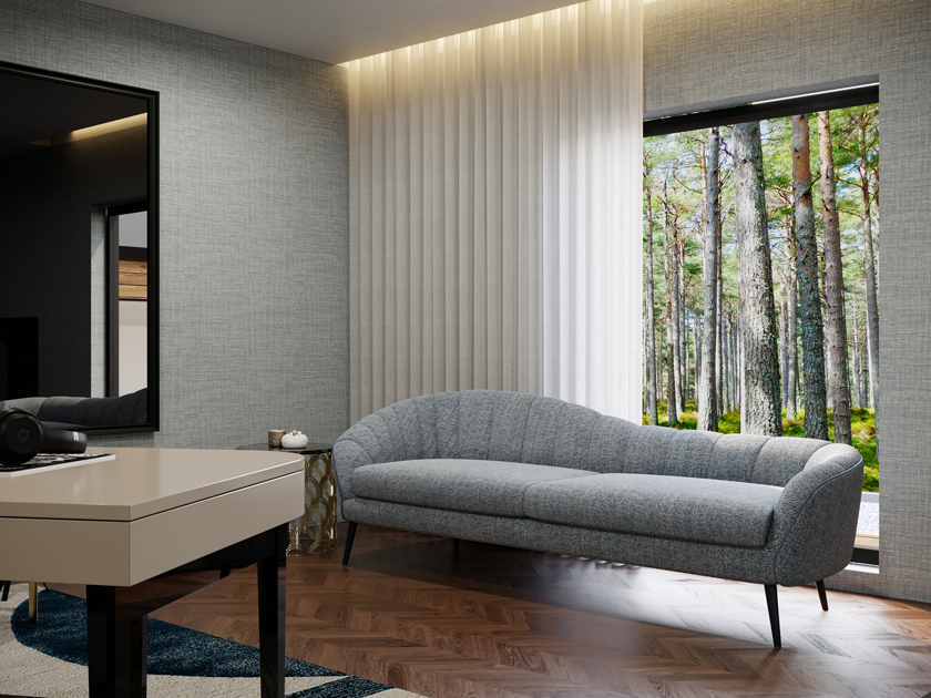 Image description: decorating tips: rest area in a home office with a chaise longue