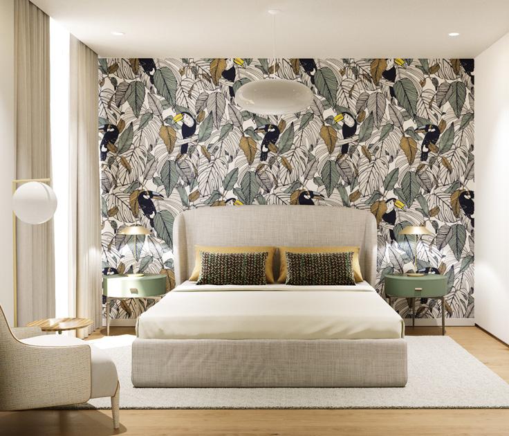 Descrição da imagem: quarto em tons de verde e bege com papel de parede de padrão de pássaros.