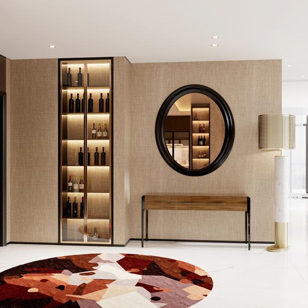 Descrição da imagem: entrada de restaurante com consola e espelho e papel de parede tnt